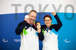 TOKYO, JAPAN - SEPTEMBER 02: Silver and bronze medalist Francek Gorazd Tirsek - Nani of Slovenia with his coach Polona Sladic posing at photo shooting on day 9 of the Tokyo 2020 Paralympic Games at Paralympic Village on September 02, 2021 in Tokyo, Japan.  Photo by Vid Ponikvar / Sportida
