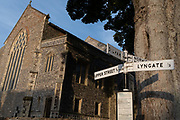 Roadsigns outside the Church of St. Mary the Virgin, a building funded from the wealth of the14th century local weaving industry, on 10th August 2020, in Worstead, Norfolk, England.
