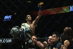 January 26, 2019 - Pasay City, NCR, Philippines - Filipino MMA fighters failed to defend their home turf with only one out of 3 fighters coming out with a victory at ONE: Hero's Ascent. In the main event, Adriano Moraes (Black) reclaimed the ONE Flyweight World Title, eking out a close decision victory over Geje Eustaquio (Red) after five rounds. (Credit Image: © Dennis Jerome S. Acosta/Pacific Press via ZUMA Wire)