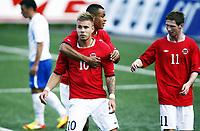 Fotball 1. juni 2012 , U21  Norge - Azerbaijan<br /> Norway - Azerbaijan<br /> Marcus Pedersen  ,Norge , har scoret her sammen med Thomas Drage (th) og Joshua King (bak) , Norge