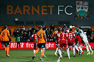 Brentford goalkeeper Luke Daniels (28) punches the ball during The FA Cup fourth round match between Barnet and Brentford at The Hive Stadium, London, England on 28 January 2019.