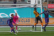 Newport County's Saikou Janneh (20) has towards goal during the EFL Sky Bet League 2 match between Newport County and Tranmere Rovers at Rodney Parade, Newport, Wales on 17 October 2020.