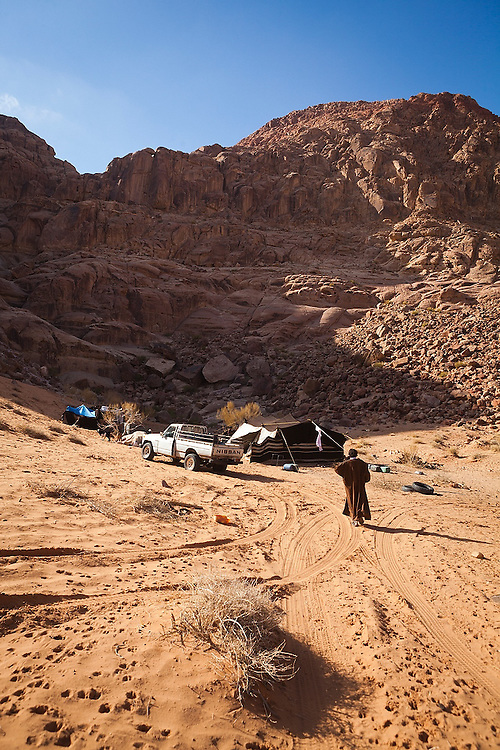 A remote Bedouin encampment in southern Wadi Rum, Jordan.