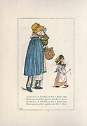 To market, to market, to buy a plum cake, / Home again, home again, market is late, / To market, to market, to buy a plum bun, / Home again, home again, market is done. // from the book Mother Goose : or, The old nursery rhymes by Kate Greenaway, Engraved and Printed by Edmund Evans published in 1881 by George Routledge and Sons London nad New York