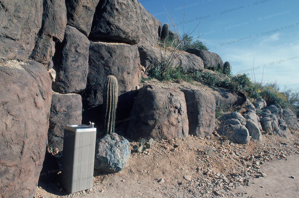 A water fountain placed in this desert landscape provides an interesting and humorous juxtaposition.
