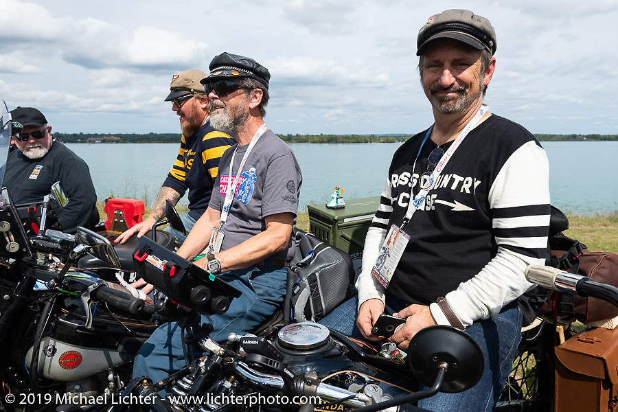 Richard Campbell with his restored 1940 opposed twin Zundapp lined up for the panorama portrait in Aune Osborne Park in Sault Sainte Marie, the site of the official start of the Cross Country Chase motorcycle endurance run from Sault Sainte Marie, MI to Key West, FL. (for vintage bikes from 1930-1948). Thursday, September 5, 2019. Photography ©2019 Michael Lichter.