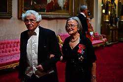 Lady Hale, the President of the Supreme Court arrive at the State Banquet at Buckingham Palace, London, on day one of US President Donald Trump's three day state visit to the UK.