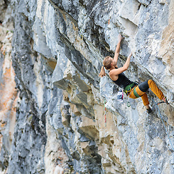 Shaina Savoy climbing Shooting Star, 5.12d at Planet X in Canmore, Alberta