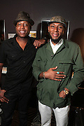 September 22, 2012- Los Angeles, CA:  (L-R) BlackStar-Recording Artist Talib Kweli and Mos Def aka Yasiin Bey backstage at the Lyricist Lounge 20th Year Reunion Party-Los Angeles held at Club Nokia at LA Live on September 22, 2012 in Los Angeles, California. The Lyricist Lounge is a hip hop showcase of rappers, emcees, DJ's, and Graffiti artists. It was founded in 1991 by hip hop aficionados Danny Castro and Anthony Marshall. It was a series of open mic events hosted in a small studio apartment in the Lower East Side section of New York City.(Terrence Jennings)