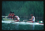 Banyoles, SPAIN, GBR W2- Stroke, Miriam BATTEN  and Bow. Joanne TURVEY,  competing in the 1992 Olympic Regatta, Lake Banyoles, Barcelona, SPAIN. 92 Gold Medalist.   [Mandatory Credit: Peter Spurrier: Intersport Images]