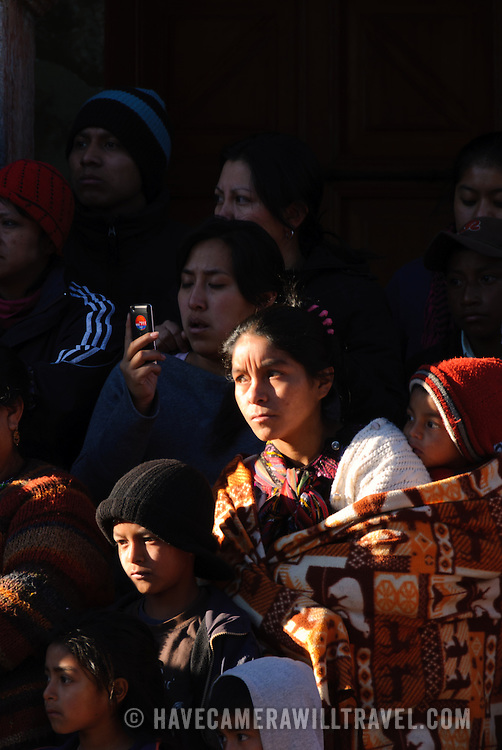 Generations of Maya watch the  performance as part of the Convite de 12 Dicembre in Chichicastengo. . Chichicastenango is an indigenous Maya town in the Guatemalan highlands about 90 miles northwest of Guatemala City and at an elevation of nearly 6,500 feet. It is most famous for its markets on Sundays and Thursdays.