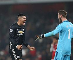 02 December 2017 London : Premier League Football : Arsenal v Manchester United - Marcos Rojo of Man Utd celebrates with Man Utd goalkeeper David De Gea<br /> (photo by Mark Leech)