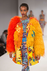 © Licensed to London News Pictures. 31/05/2015. London, UK. Collection by Ivanka Hristova. Fashion show of the University of East London (UEL) at Graduate Fashion Week 2015. Graduate Fashion Week takes place from 30 May to 2 June 2015 at the Old Truman Brewery, Brick Lane. Photo credit : Bettina Strenske/LNP