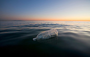 Plastic Water Bottle Floating in Pacific Ocean, Santa Monica, California, USA