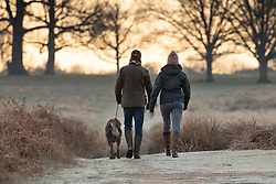 © Licensed to London News Pictures. 18/01/2019. London, UK. A couple walk their dog in Richmond Park at first light as freezing temperatures and snow hit parts of the UK. Photo credit: Peter Macdiarmid/LNP