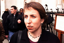 High Court, Spice Girls Case .. Susan Barty (Partner) from Cameron Mckenna representing Aprilia talking to the press outside the high court after winning their case against the spice girls   February 24, 2000. Photo by Andrew Parsons / i-images..