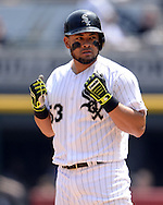 CHICAGO - MAY 21:  Melky Cabrera #53 of the Chicago White Sox reacts after hitting a double in the fourth inning against the Kansas City Royals on May 21, 2016 at U.S. Cellular Field in Chicago, Illinois.  The Royals defeated the White Sox 2-1.  (Photo by Ron Vesely)   Subject:   Melky Cabrera