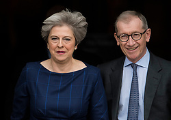 © Licensed to London News Pictures. 04/10/2017. Manchester, UK. British prime minister THERESA MAY and her husband PHILIP MAY arrive in the conference hall to deliver her leaders speech on the final day of the Conservative Party Conference. The four day event is expected to focus heavily on Brexit, with the British prime minister hoping to dampen rumours of a leadership challenge. Photo credit: Ben Cawthra/LNP