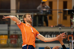 Luuc van der Ent of Netherlands in action during the CEV Eurovolley 2021 Qualifiers between Sweden and Netherlands at Topsporthall Omnisport on May 14, 2021 in Apeldoorn, Netherlands