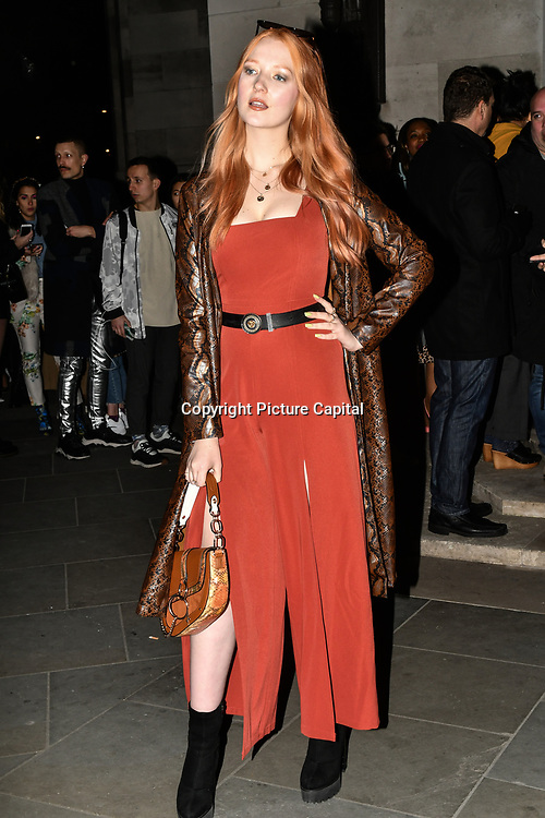 Victoria Clay attend Fashion Scout LFW AW19 Day 1 at Freemasons' Hall, London, UK. 15 Feb 2019