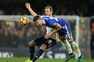 Gary Cahill of Chelsea heads the ball past Harry Kane of Tottenham Hotspur. Premier league match, Chelsea v Tottenham Hotspur at Stamford Bridge in London on Saturday 26th November 2016.<br /> pic by John Patrick Fletcher, Andrew Orchard sports photography.