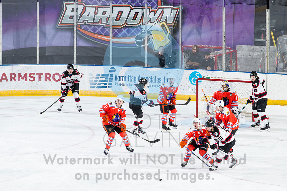 The Youngstown Phantoms lose 5-4 in overtime to the Chicago Steel at the Covelli Centre on February 26, 2020.<br /> <br /> Bradley Marek, forward, 9; Aiden Gallacher, defenseman, 2; Jacob Felker, forward, 10; Colin Purcell, goalie, 1