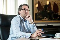 03 JUL 2019, BERLIN/GERMANY:<br /> Andreas Scheuer, CSU, Bundesminister fuer Verkehr und digitale Infrastruktur, waehrend einem Interview, in seinem Buero, Bundesministerium fuer Verkehr und digitale Infrastruktur<br /> IMAGE: 20190703-01-049