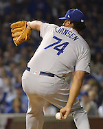 CHICAGO, IL - OCTOBER 16:  Kenley Jansen #74 of the Los Angeles Dodgers pitches during Game 2 of NLCS against the Chicago Cubs at Wrigley Field on Sunday, October 16, 2016 in Chicago, Illinois. (Photo by Ron Vesely/MLB Photos via Getty Images) *** Local Caption *** Kenley Jansen