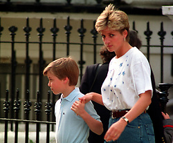 The Princess of Wales leaving Wetherby School with Prince William after dropping off her younger son, Prince Harry.