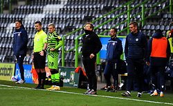 Forest Green Rovers manager Mark Cooper watches his team from the sideline - Mandatory by-line: Nizaam Jones/JMP - 17/10/2020 - FOOTBALL - innocent New Lawn Stadium - Nailsworth, England - Forest Green Rovers v Stevenage - Sky Bet League Two