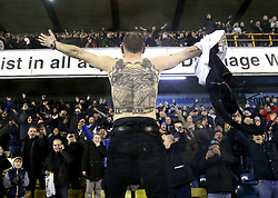 Millwall fans celebrate at full time