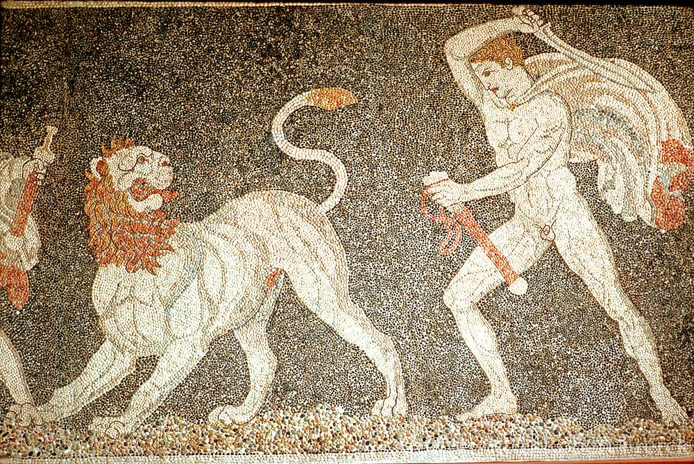 GREECE, MACEDONIA, PELLA Alexander the Great, lion hunt, 4thc BC