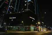 """A message reading """"Mamba Forever"""" is projected on billboards at the Circa LA apartments across the street from the Staples Center, Thursday, August 27, 2020 in Los Angeles. (Dylan Stewart/Image of Sport)"""