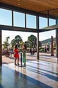 Winetasting with open door views to patio overlooking Japanese Garden, Saffron Fields Vineyard, Yamhill-Carlton AVA, Willamette Valley, Oregon