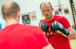 September 21, 2016 - Schwerin, Mecklenburg-Western Pomerania, Germany - Professional boxer Jurgen Brahmer practices for his next fight for the world champion title against Nathan Cleverly in Schwerin, Germany, 21 September 2016. The fight for the title is planned to be on 1 Octobre 2016 at the Neubrandenburgian Jahnsportform. Brahmer has won 48 out of 50 professional fights. PHOTO: JENS BÃœTTNER/dpa (Credit Image: © Jens BüTtner/DPA via ZUMA Press)