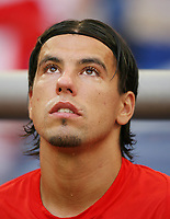 Photo: Chris Ratcliffe.<br />USA v Czech Republic. Group E, FIFA World Cup 2006. 12/06/2006.<br />Milan Baros of the Czech Republic crys on the bench before the game.