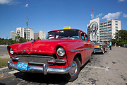 Old American cars in excellent condition, in Revolution square - Placa de la Revolution, Havana.