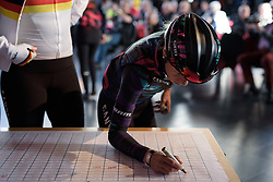 Trixi Worrack signs in at Ronde van Drenthe 2017. A 152 km road race on March 11th 2017, starting and finishing in Hoogeveen, Netherlands. (Photo by Sean Robinson/Velofocus)