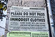 Sign entering the neighborhood of Mea Sharim, an Orthodox neighborhood in Jerusalem