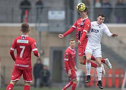 Hans Christian Bonnesen (FC Helsingør) og Sebastian Czajkowski (FC Roskilde) under træningskampen mellem FC Roskilde og FC Helsingør den 15. februar 2020 i Roskilde Idrætspark (Foto: Claus Birch).