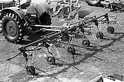 """29/04/1962<br /> 04/29/1962<br /> 29 April 1962<br /> Farm machinery at the R.D.S. Spring Show, Ballsbridge Dublin, feature with Julian Bayley for Farming Express. Image shows a """"Fahr"""" side rake hitched to a Deutz tractor."""