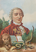 Georges-Louis Leclerc, Comte de Buffon (7 September 1707 – 16 April 1788) was a French naturalist, mathematician, cosmologist, and encyclopédiste. His works influenced the next two generations of naturalists, Buffon published thirty-six quarto volumes of his Histoire Naturelle during his lifetime; with additional volumes based on his notes and further research being published in the two decades following his death. From the book La ciencia y sus hombres : vidas de los sabios ilustres desde la antigüedad hasta el siglo XIX T. 3  [Science and its men: lives of the illustrious sages from antiquity to the 19th century Vol 3] By by Figuier, Louis, (1819-1894); Casabó y Pagés, Pelegrín, n. 1831 Published in Barcelona by D. Jaime Seix, editor , 1879 (Imprenta de Baseda y Giró)