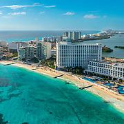 Aerial view of the Riu Hotels in Cancun.