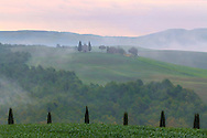 A foggy sunrise at the Chapel of Vitaleta in Val d'Orcia, Tuscany, Italy. The Chapel of the Madonna od Vitaleta is a rural small church placed atop a hill in the country side between Pienza and San Quirico d'Orcia. Taken on a early morning at the end of April.