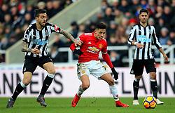 Alexis Sanchez of Manchester United takes on Joselu of Newcastle United - Mandatory by-line: Matt McNulty/JMP - 11/02/2018 - FOOTBALL - St James Park - Newcastle upon Tyne, England - Newcastle United v Manchester United - Premier League
