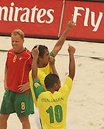 Football - FIFA Beach Soccer World Cup 2006 - Semi Final - BRA X POR - Rio de Janeiro - Brazil 11/11/2006<br />Bruno (BRA) celebrates his goal with his team-mate Benjamin during the match Event Title Board Mandatory Credit: FIFA / Ricardo Moraes