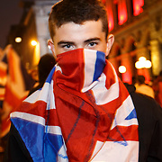 A demo in Glasgow by Pro-Unionists waving Union Jack. The Police had to form human barricades as the Unionist's tried to antagonise the Yes voters. Scotland, 019 September 2014. Scotland held an independence referendum on 18 September 2014.