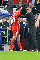 Football - 2018 / 2019 UEFA Nations League B - Group Four: Wales vs. Republic of Ireland<br /> <br /> Wales manager Ryan Giggs shake hands with Gareth Bale of Wales after he is substituted , at Cardiff City Stadium.<br /> <br /> COLORSPORT/WINSTON BYNORTH