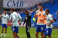 Cardiff City forward Kieffer More (10) during the pre-match warm-up with midfielder Will Vaulks (6) during the EFL Sky Bet Championship match between Cardiff City and Bristol City at the Cardiff City Stadium, Cardiff, Wales on 28 August 2021.