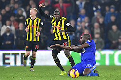 Cardiff City's Sol Bamba (right) appears frustrated during the Premier League match at the Cardiff City Stadium.